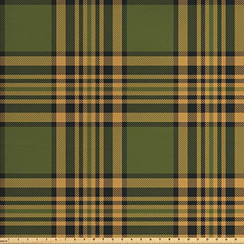 - Lunarable Plaid Fabric by The Yard, Tartan Pattern in Autumn Tones Old Fashioned Design Country Illustration, Decorative Fabric for Upholstery and Home Accents, 1 Yard, Olive Green Mustard