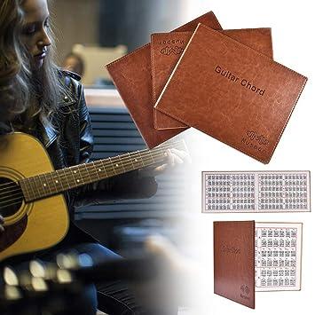 Shangjunol Portátil del Cuero del Libro 6 Cuerdas Guitarra acordes ...