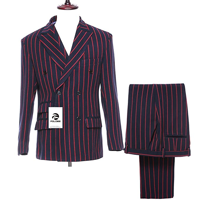 Amazon.com: folobe traje de hombre 3 piezas Pinstripe ...