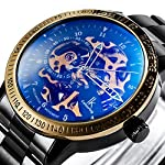 Carrie Hughes Men's Steampunk Automatic Mechanical Discoloration Glass Skeleton Stainless Steel Watch 7