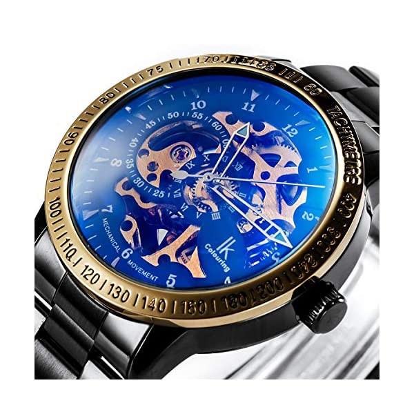 Carrie Hughes Men's Steampunk Automatic Mechanical Discoloration Glass Skeleton Stainless Steel Watch 4