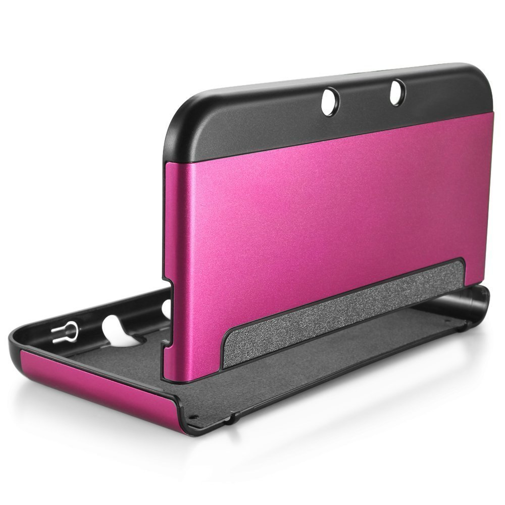 New 3DS XL Cover - MIFAVOR Plastic Aluminium Full Body Protective Snap-on Hard Shell Skin Case Cover for New Nintendo 3DS XL 2015 (Hot Pink)
