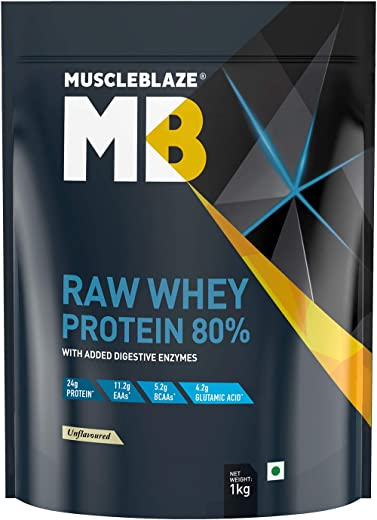MuscleBlaze Raw Whey Protein Concentrate 80% with added digestive enzymes...
