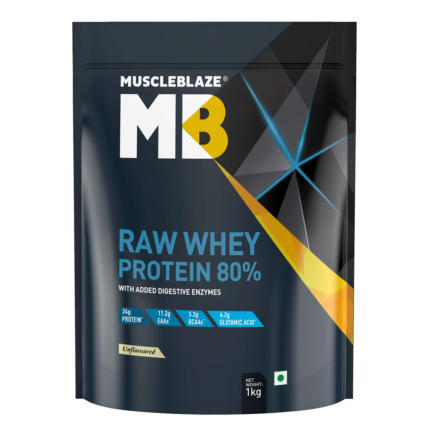 Buy MuscleBlaze Raw Whey Protein Concentrate 80% with added