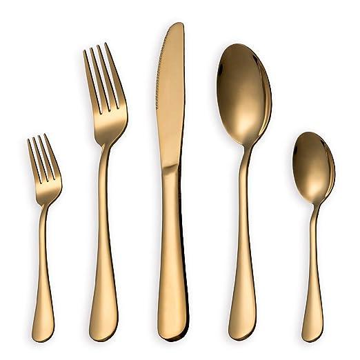 HOMQUEN Juego de cubiertos, juego de platos y cubiertos de oro, servicio de juegos de acero inoxidable para 6 personas, juego de cubiertos de comedor ...