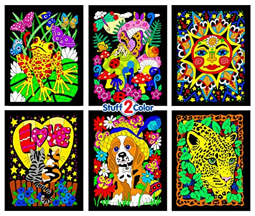 Sunshine, Kittens, Leopard, Puppy, Fairy, Frog - 6 Fuzzy Velvet Coloring Posters by Stuff2Color -