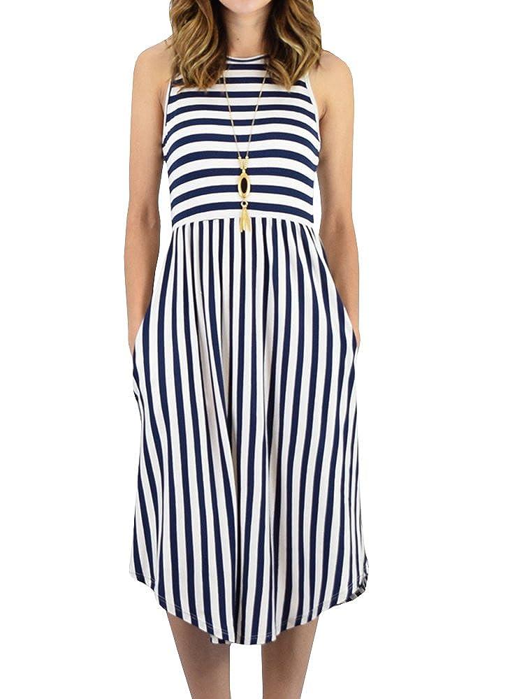 Navy Foshow Womens Tank Dress Striped Midi Sleeveless Casual Summer Beach Dresses with Pockets