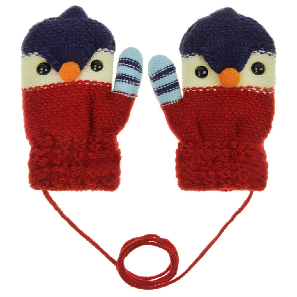Toddler Kids Warm Cozy Knitted Gloves Mittens with String - Cartoon Chick Baby Winter Thick Fleece Thinsualted Gloves Coldproof Hand Warmer Kids Outdoor Ski Mitt Gift for Boys Girls 2-5 Years