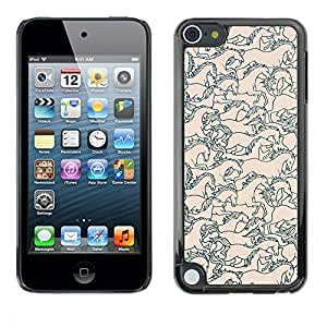 Hard Protector Case Cover Slim Back Shell for Apple iPod Touch 5 /Peach Pink Floral Pattern Pastel/ STRONG