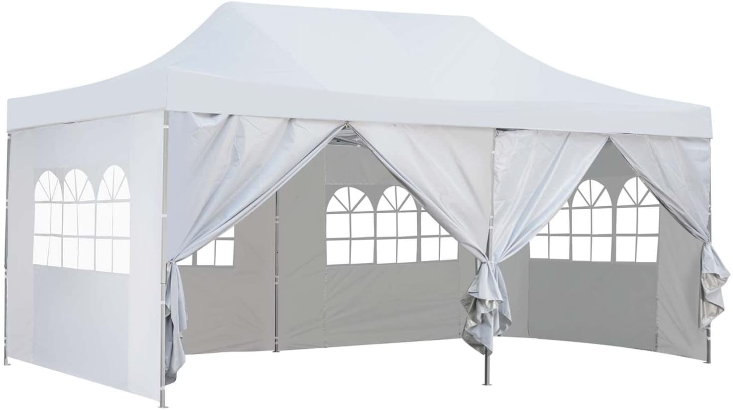 Outdoor Basic 10x20 Ft Pop up Canopy Party Wedding Gazebo Tent Shelter with Removable Side Walls White