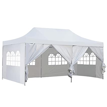 buy popular 2938e a877b Outdoor Basic 10x20 Ft Pop up Canopy Party Wedding Gazebo Tent Shelter with  Removable Side Walls White