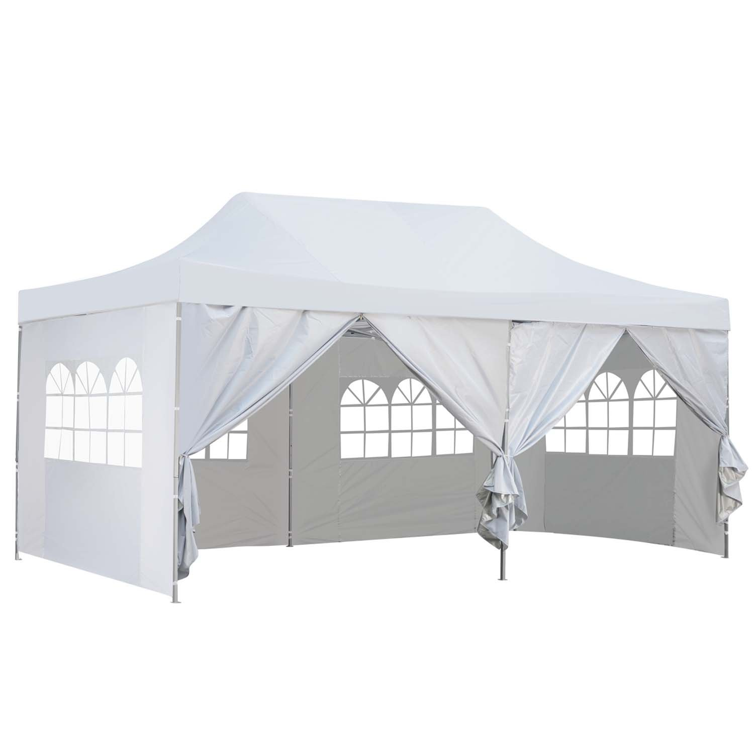 Outdoor Basic 10x20 Ft Pop up Canopy Party Wedding Gazebo Tent Shelter with Removable Side Walls White by Outdoor Basic (Image #1)