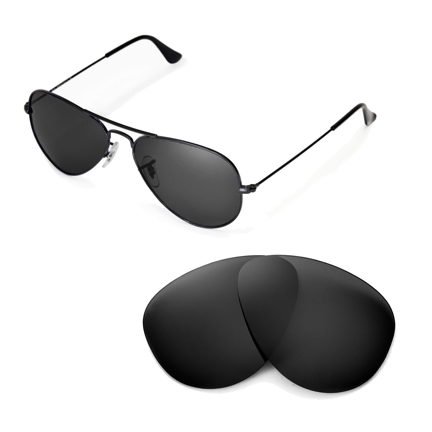 9304d3fb44fc1 Walleva Replacement Lenses for Ray-Ban RB3025 Aviator Large Metal 55mm -  Multiple Options Available (Black - Polarized)  Amazon.ca  Sports   Outdoors
