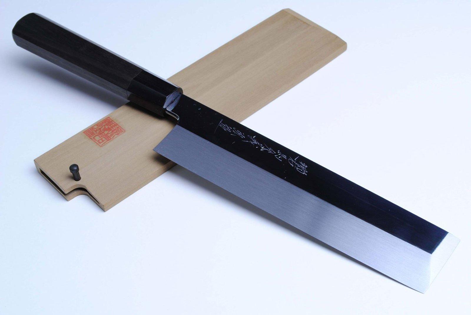 Yoshihiro Honyaki Mirror Finished Edo Usuba Japanese Vegetable Chefs Knife 7.7 Inch (195mm) Ebony Handle