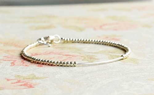 Sterling silver tiny beads bracelet