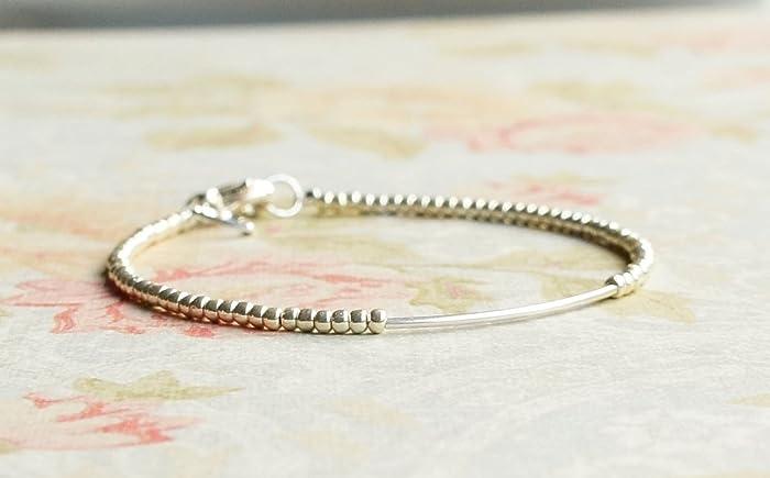 Amazon Com Silver Bracelet Seed Bead Bracelet Silver Tube