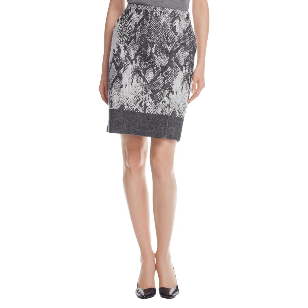 Hugo Boss Womens Textured Printed Straight Skirt Gray 2