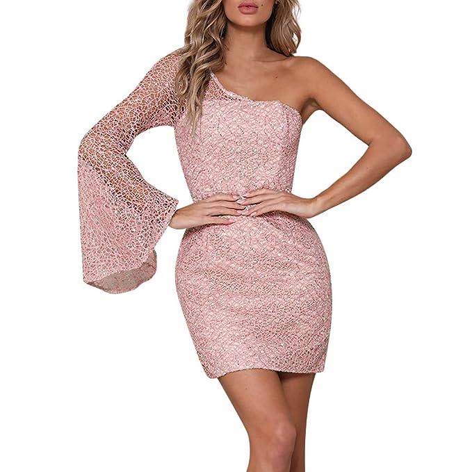ef53f938a990 LMMET Vestiti Elegante Donna Cerimonia Mini Vestiti Eleganti Estate da Sera Donna  Aderenti Vestito Corto Pizzo