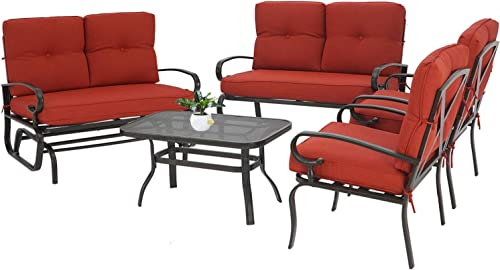 Oakmont 5Pcs 6 Seats Outdoor Metal Furniture Sets Patio Conversation Set Glider