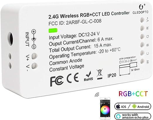 2ID ZigBee Tira de LED Controlador de interruptor de luz, 16M RGB Cambio de Color y Doble Blanco de ZigBee Light Link Adaptador para 12-24V LED Light Strip compatible con la App