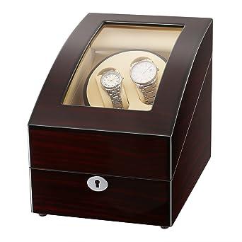 big sale ab379 c6731 CRITIRON ワインディングマシーン 2本巻き+3本収納 ウォッチワインダー 木製 高級 時計自動巻き上げ機 静音 時計自動巻きマシーン  一年保証期間 (ブラウン)
