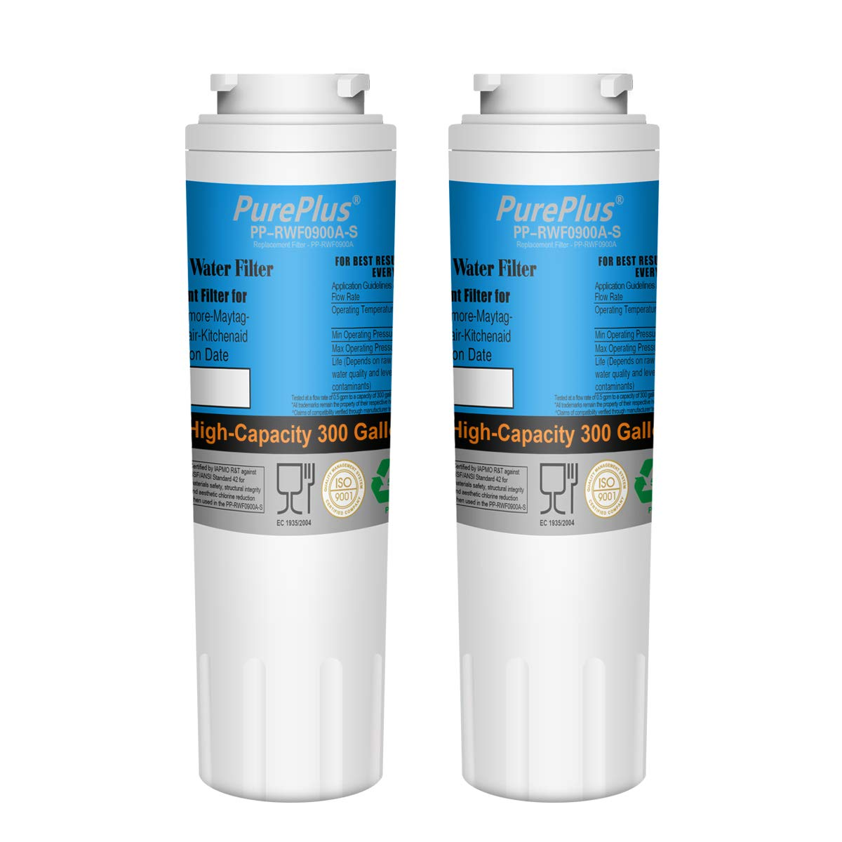PurePlus UKF8001 Refrigerator Water Filter, Replacement for Maytag UKF8001P, PUR, Jenn-Air, Filter 4, 4396395, UKF8001AXX, UKF8001AXX-200, UKF8001AXX-750, 469006 (Pack of 2)