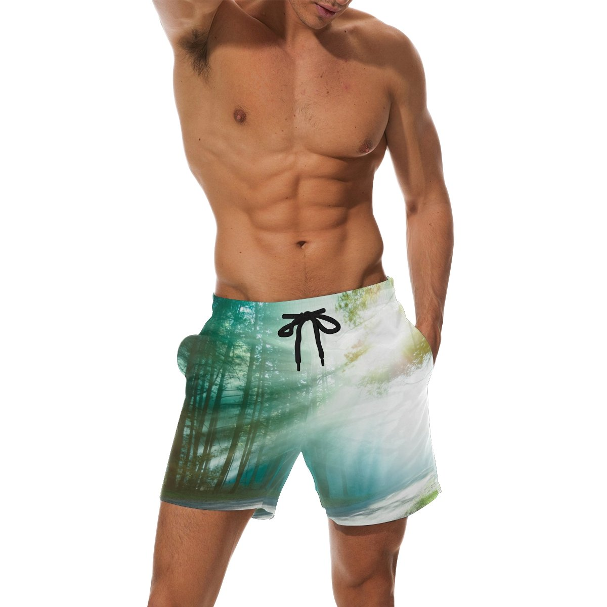 LORVIES Mens Magical Forest Beach Board Shorts Quick Dry Swim Trunk