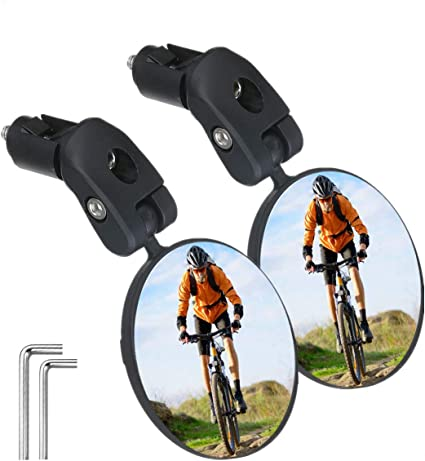 Bicycle Bike 2 Mirror Rear View Handlebar Rearview Cycling Adjustable Road Glass
