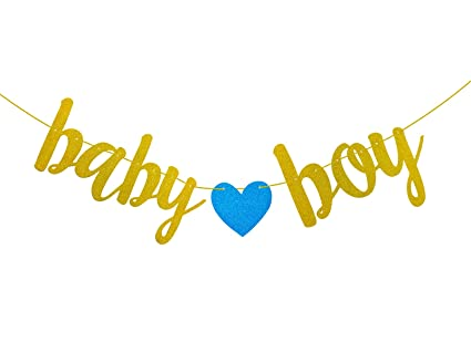 fecedy gold glittery baby boy banner for baby shower party amazon