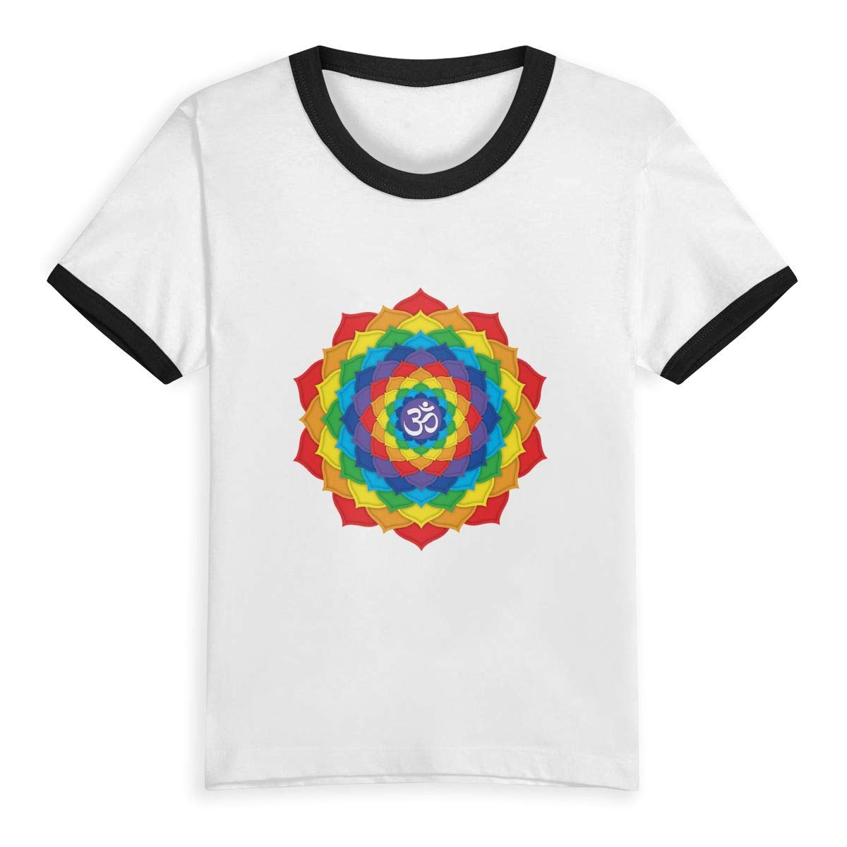 Kids T-Shirt Tops Rainbow Crown Chakra Unisex Youths Short Sleeve T-Shirt