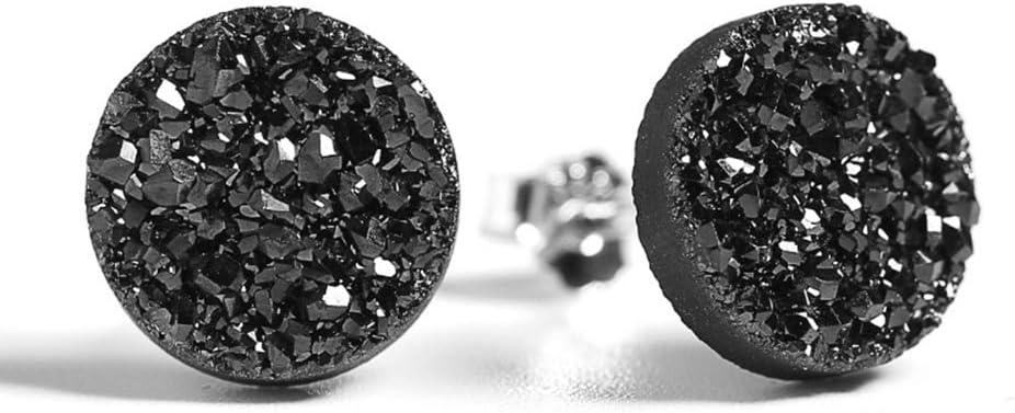 YOLANDE Hombres Mujeres Pendientes de Cristal de pavé de Roca en Bisel de Plata de Ley 925 Hecho con Cristal Original