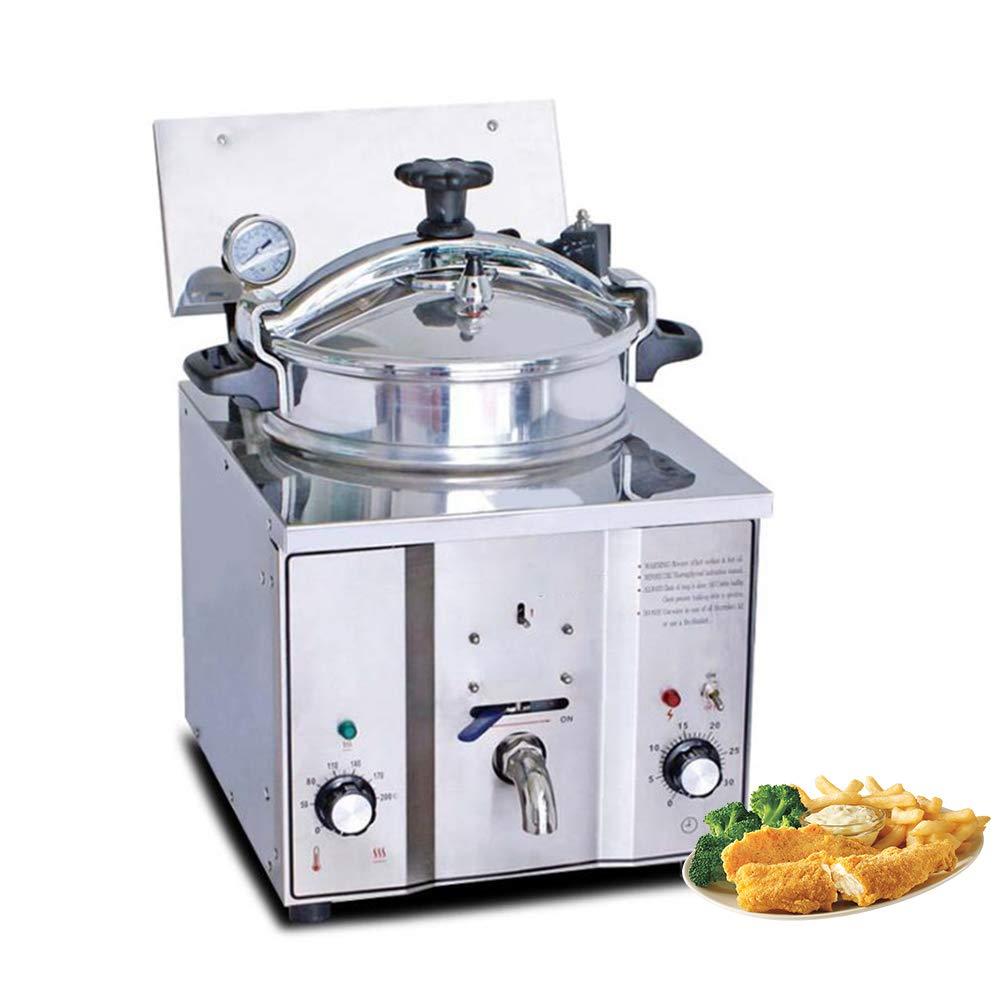Vinmax 16L Commercial Desktop Pressure Fryer Stainless Steel Electric Large Capacity Tank Chicken Fish Potato Fryer