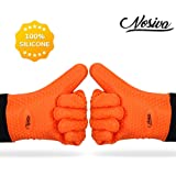 Silicone Oven Mitts - Heat Resistant (Up to 446℉) Kitchen Gloves with Quilted Cotton Lining, NOSIVA Non-slip Gloves for Cooking, Baking, Grilling