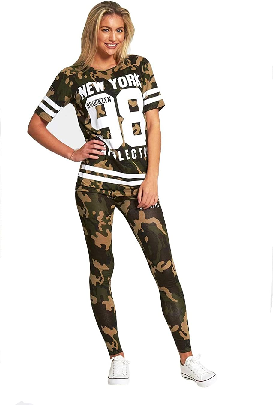 Girls Army Tracksuit Camo Camouflage New York 98 Kids Top /& Leggings Loungewear
