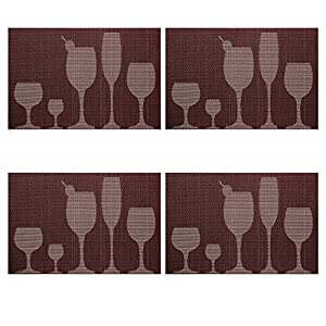 U'Artlines TOP Quality Rectangle PVC Dining Room Placemats for Table Heat Insulation Stain-resistant Woven Vinyl Kitchen Placemat Simple Style Eat Mat Vinyl Placemats