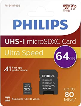 Philips 64 Gb Class 10 Micro Sdxc Card With Adapter Computers Accessories