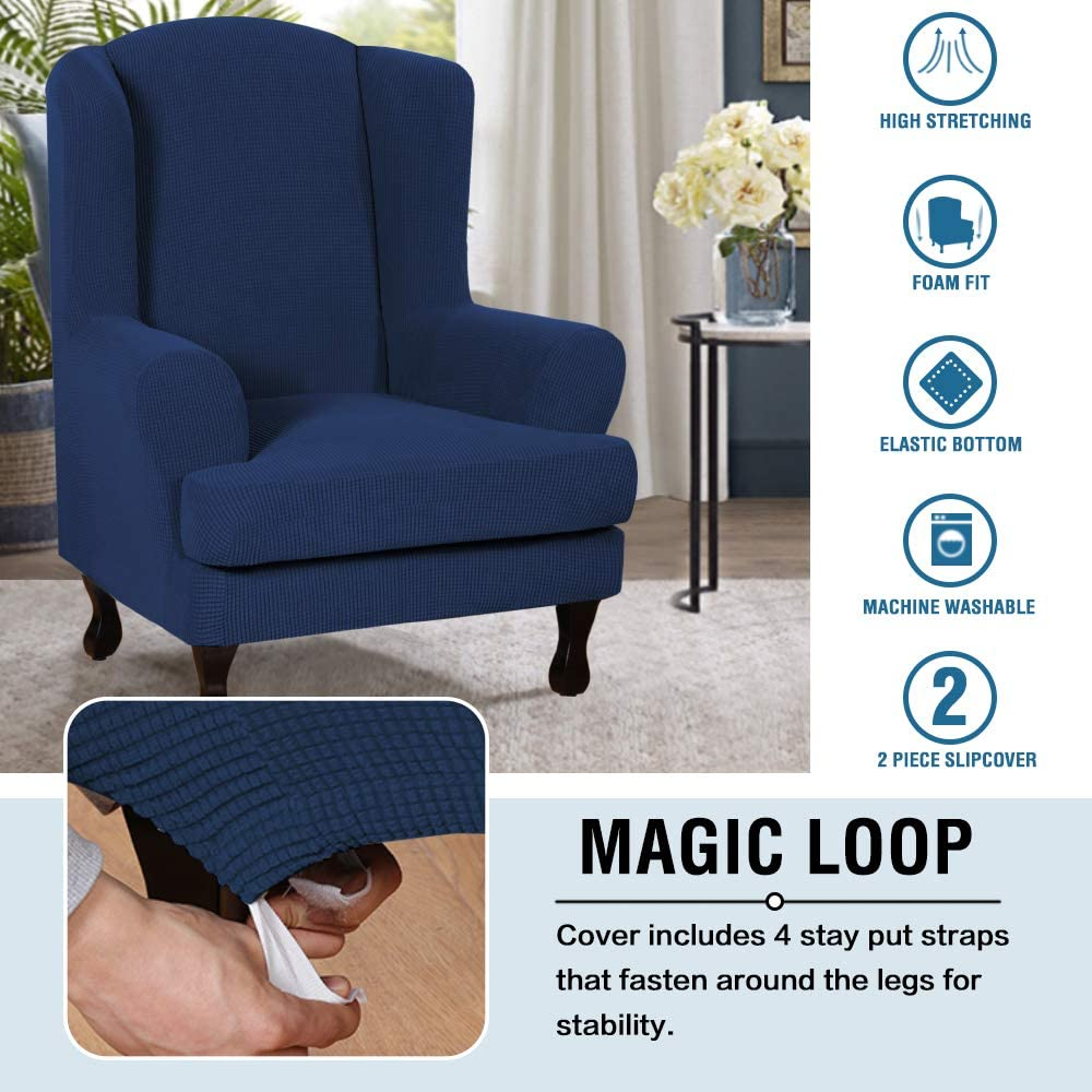 Wing Chair, Sand H.VERSAILTEX 2 Piece Super Stretch Stylish Furniture Cover//Wingback Chair Cover Slipcover Spandex Jacquard Checked Pattern Super Soft Slipcover Machine Washable//Skid Resistance