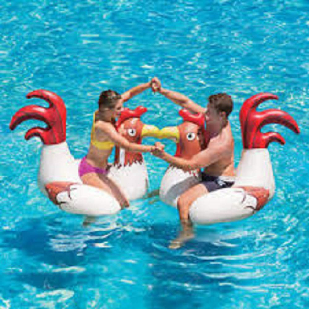 Play Day Chicken Fight Game With 2 Inflatable Chickens for Swimming Pool Fun, For Adults & Children, Measures 54.5'' x 39.5'' x 40'' by pool game