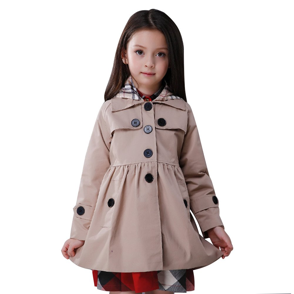 LSERVER Little Girls A-line Single Breasted Hooded Cotton Trench Coat Jacket Khaki, Tag -120/4-5 Year
