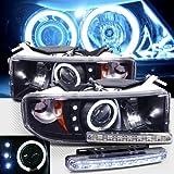 1994-2001 DODGE RAM 1500 CCFL HALO PROJECTOR HEADLIGHTS + 8 LED FOG BUMPER LAMPS