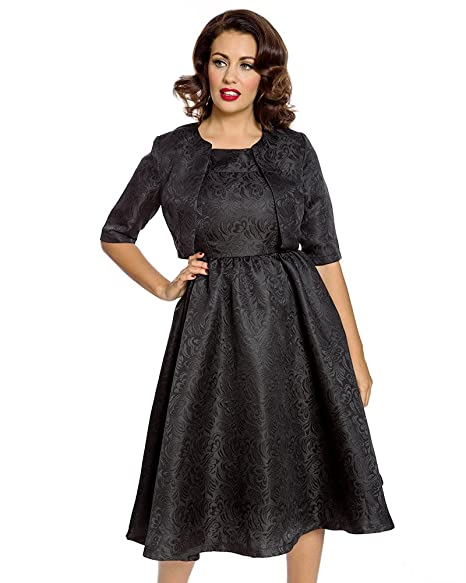 1950s Swing Dresses | 50s Swing Dress Lindy Bop Tiana Black Swing Dress and Jacket Twin Set $85.00 AT vintagedancer.com