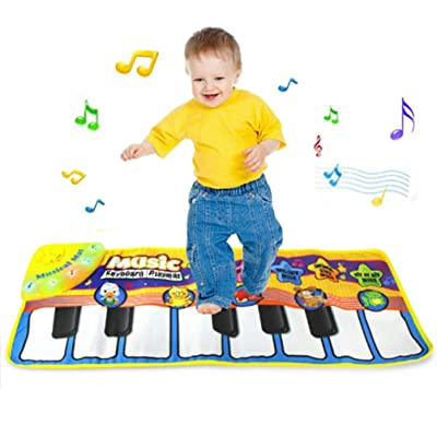 CLanItris Piano Mat - Giant Educational Pre-Kindergarten Toys, Keyboard Play Mat, Animal Blanket Carpet Playmat,Children Foot Touch Play Portable Musical Blanket for Toddlers and Kids Boys Girls: Toys & Games
