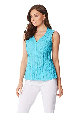 a690fb4203b Roman Originals Women 100% Cotton Sleeveless Crinkle Blouse - Ladies Formal  Casual Tie Notch Neck Light Long Blouse Summer Holiday Evening Special ...