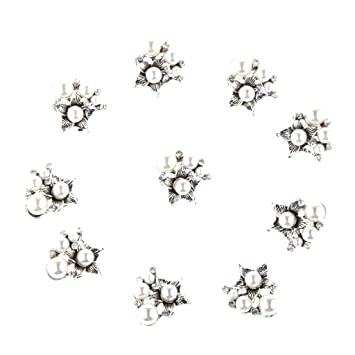 Image Unavailable. Image not available for. Color  Pack of 10 Vintage Pearl  Flower Buttons Flatback Embellishments For Hair Bow Bag Decor Craft Silver 8ebac5b23067
