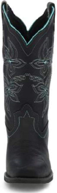 Justin Womens Buffalo Western Boot Square Toe Black 7 M