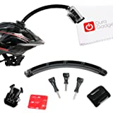 DURAGADGET Curved 'Cycle Helmet Arm' Extension Pole-Style Mount For GoPro Hero 4 (Black & Sliver), HERO, 3+, 3, 2, 1 & HD Hero, Naked / Helmet / LCD BacPak (Black, White, Silver, Surf, Outdoor & Sport Editions)