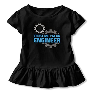 1a3150969 Amazon.com: Trust Me I'm an Engineer Toddler Baby Girls' Short Sleeve  Ruffle T-Shirt: Clothing
