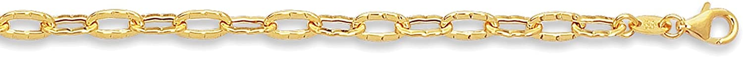 Finejewelers 14 Kt Yellow Gold 10 Inch Flat Hammered Oval Link Chain Anklet with Pear Shape Clasp