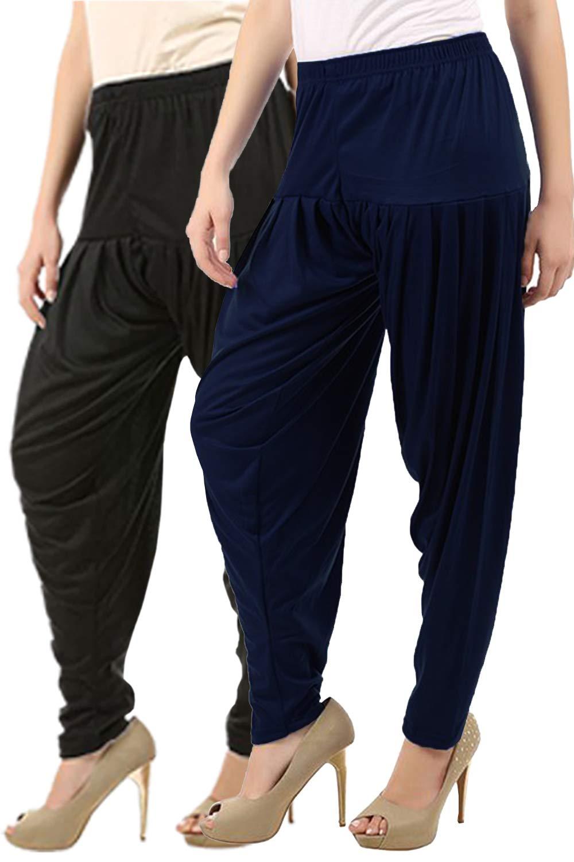 Buy That Trendz Women's Cotton Viscose Lycra Dhoti Patiyala Salwar Harem Bottoms Pants Black Navy Combo Pack of 2 (B07H6N94VM) Amazon Price History, Amazon Price Tracker