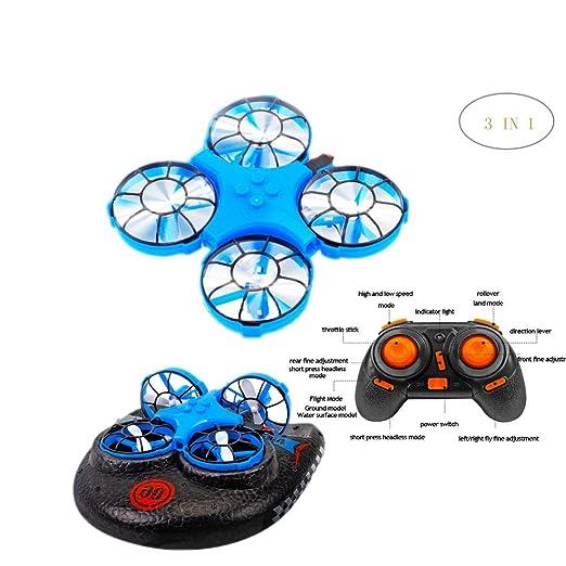 LIJUMN Mini dron 3 en 1 cuadricóptero Soporte vehículo Hovercraft ...